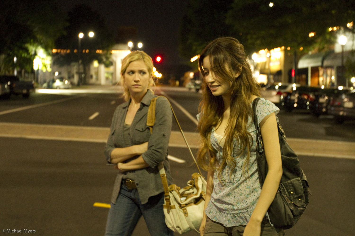Brittany Snow and Twilight's Christian Serratos on the square in Marietta