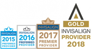 Invisalign 2015, 2016 preferred provider, invisalign 2017 premier provider and gold invisalign provider 2018 logo.