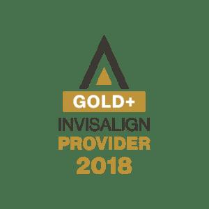 Gold+ Invisalign Provider 2018 logo.